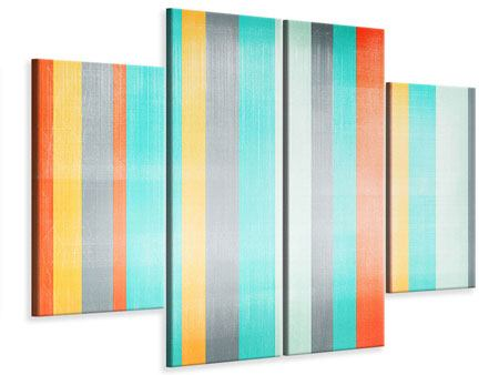 4 Piece Canvas Print Grunge Stripes