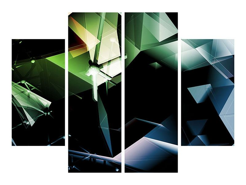 4 Piece Canvas Print 3D Polygon