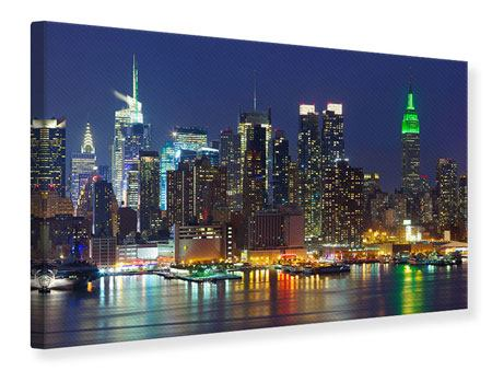 Stampa su tela Skyline di Midtown New York di notte