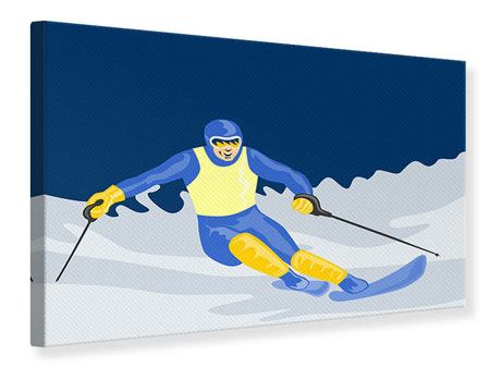 Canvas Print Skier In Retro Style