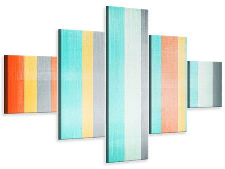 5 Piece Canvas Print Grunge Stripes