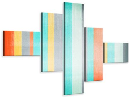 Modern 5 Piece Canvas Print Grunge Stripes