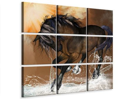 9 Piece Canvas Print Black Beauty