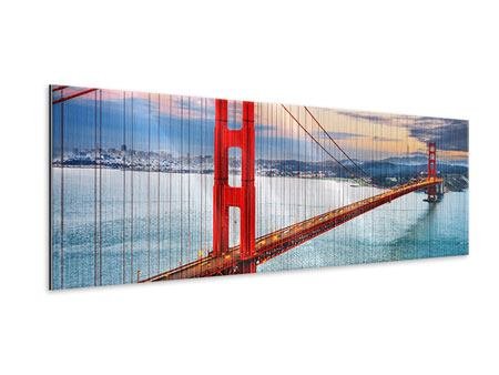 Panoramic Metallic Print The Golden Gate Bridge At Sunset