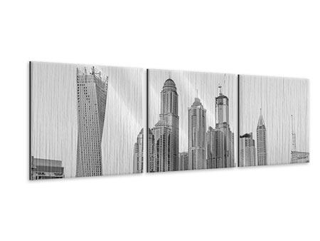 Panoramic 3 Piece Metallic Print Majestic Skyscrapers In Dubai