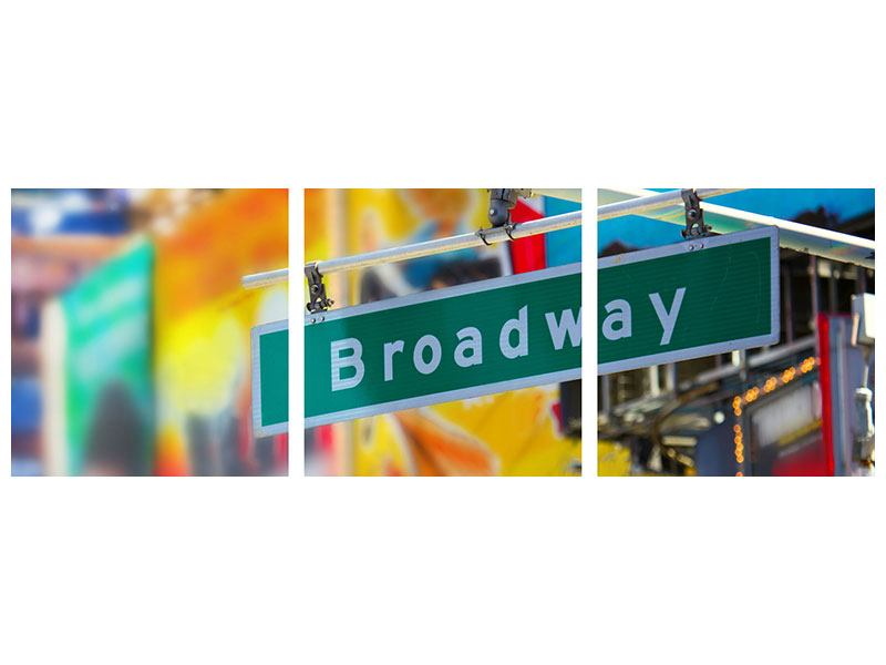 Panoramic 3 Piece Metallic Print Broadway