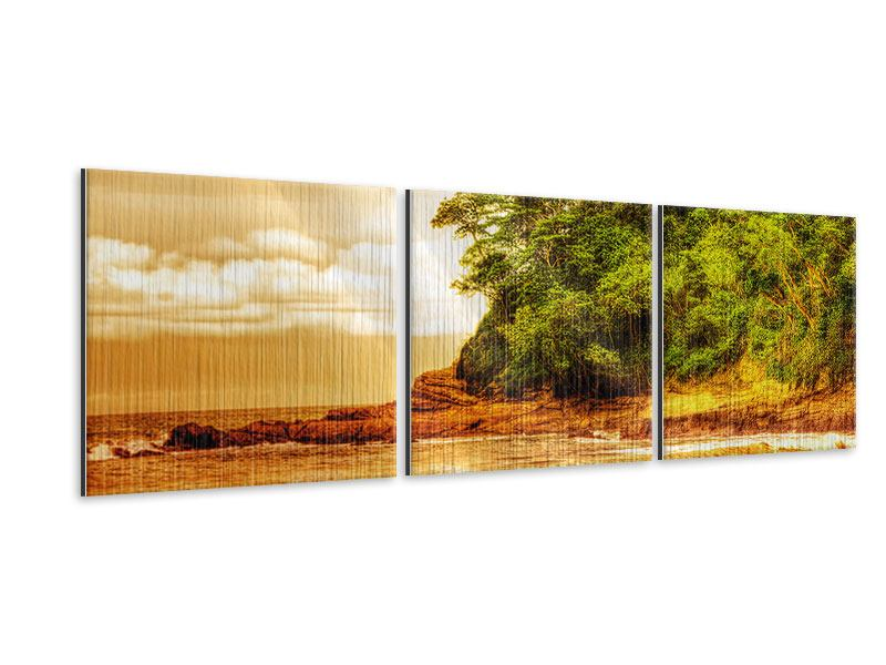 Panoramic 3 Piece Metallic Print Sunset At The End Of The Forest