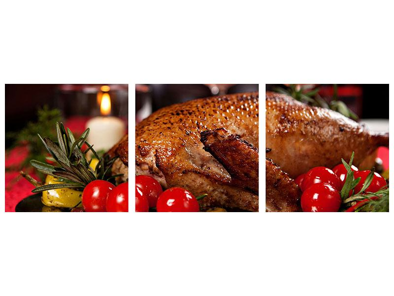 Panoramic 3 Piece Metallic Print Delicious Poultry