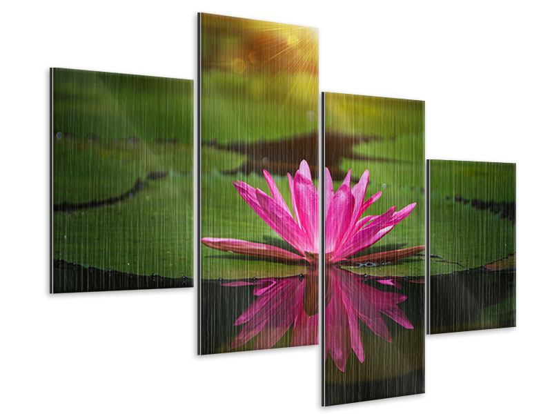 Modern 4 Piece Metallic Print Lily Reflection