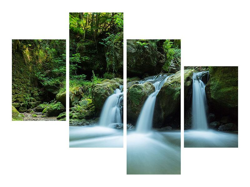 Modern 4 Piece Metallic Print Falling Water in the Wood