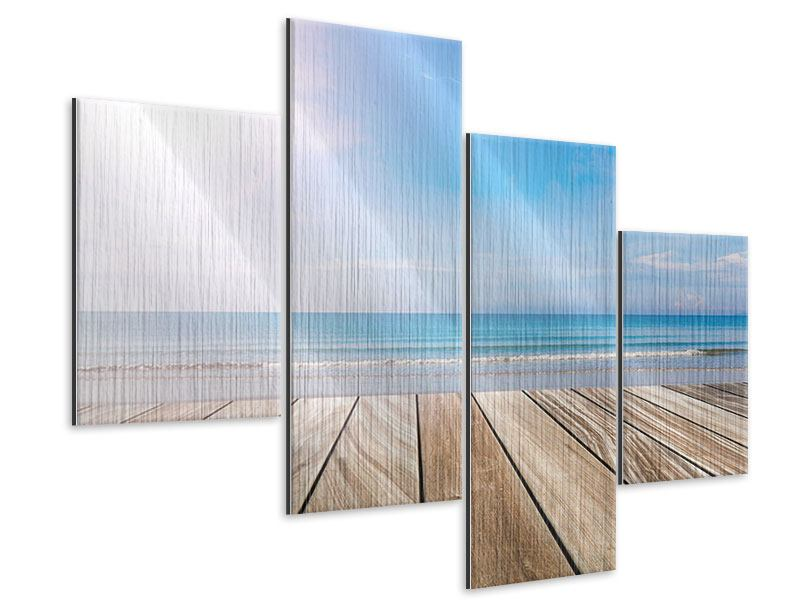 Modern 4 Piece Metallic Print The Beautiful Beach House