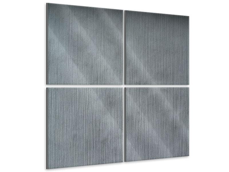 Alu-Dibond effet metallise en 4 parties Mur gris foncé
