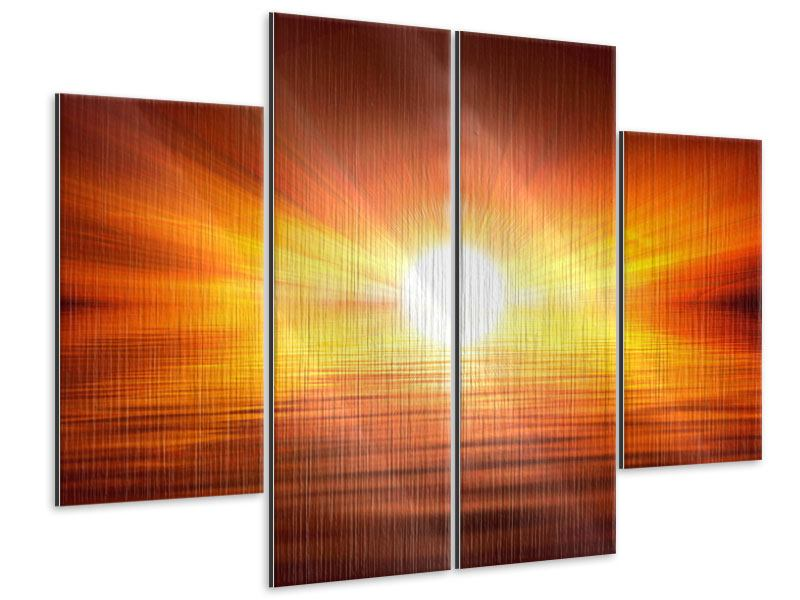 4 Piece Metallic Print Glowing Sunset