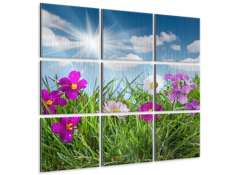 9 Piece Metallic Print Flowering Meadow