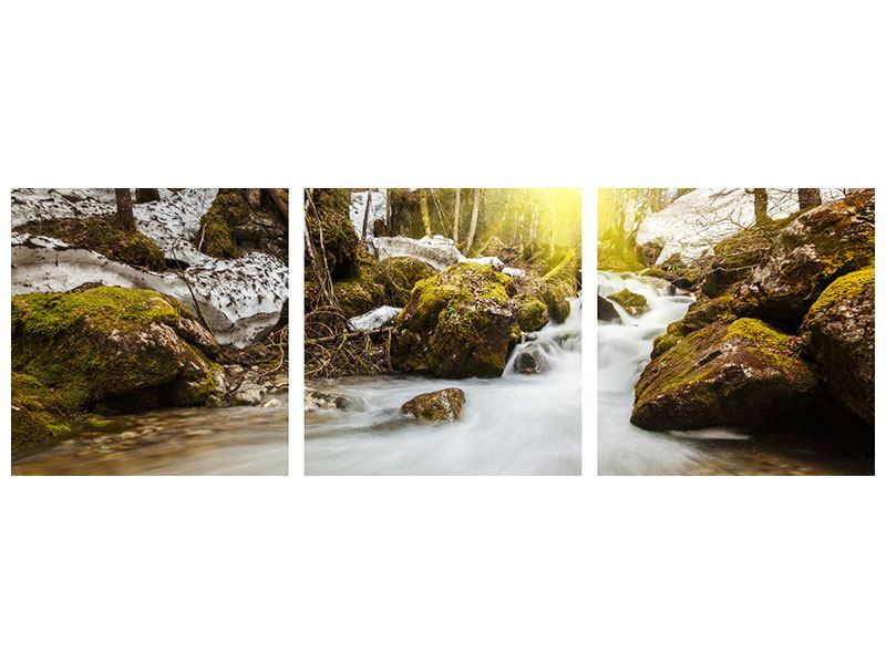 Panoramic 3 Piece Poster Cascading Waterfall