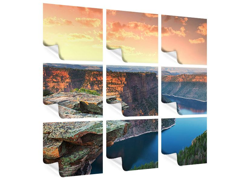 9 Piece Poster Sunset Rocky Mountains