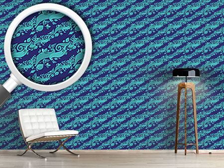 Design Wallpaper Leaves On Waves