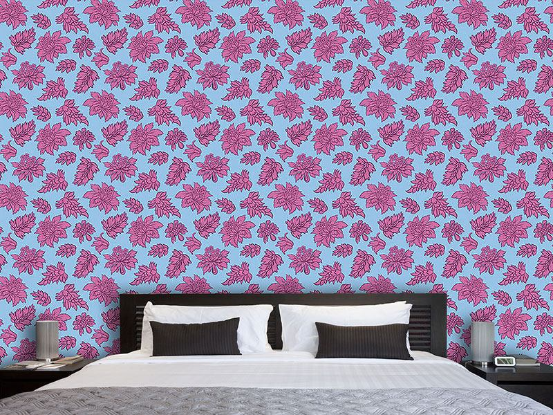 Papel tapiz de diseño Baroque Bloom Blue