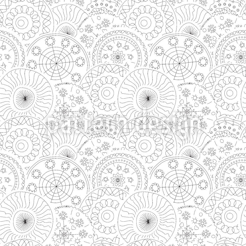 Papier peint design Filigree Circle Flowers